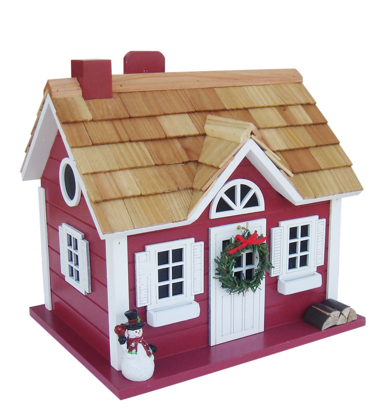 Christmas Cape Cod Cottage Birdhouse 4pc Pre Pack Home